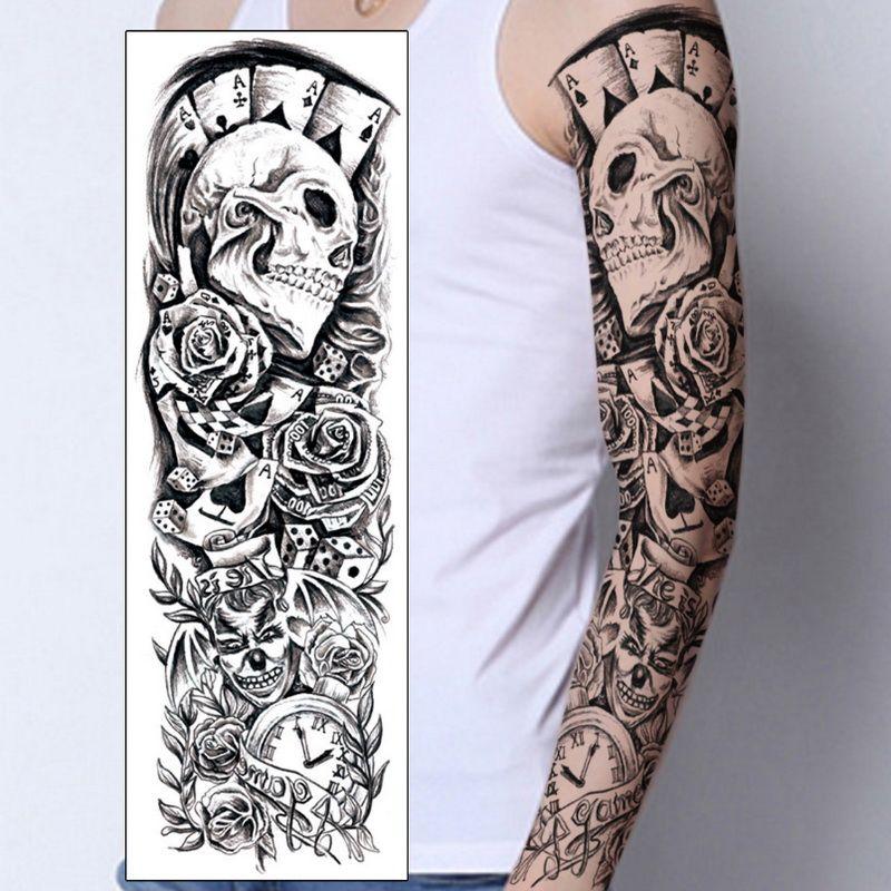 großhandel 1 stÜck temporäre tattoo aufkleber schädel clown poker