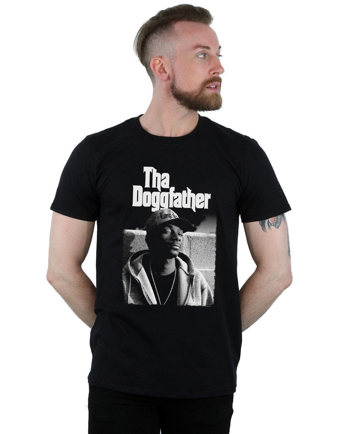 Snoop Dogg Men's Tha Doggfather Mono T-ShirtPrinted Summer Style Tees Male  Harajuku Top Fitness Brand Clothing