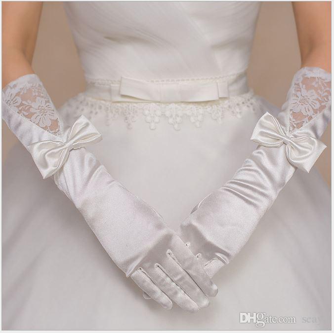 Gelin'in düğün eldivenleri, saten pirinç beyaz uzun beş parmak, tören faaliyetleri el süsler, eldiven üreticileri toptan