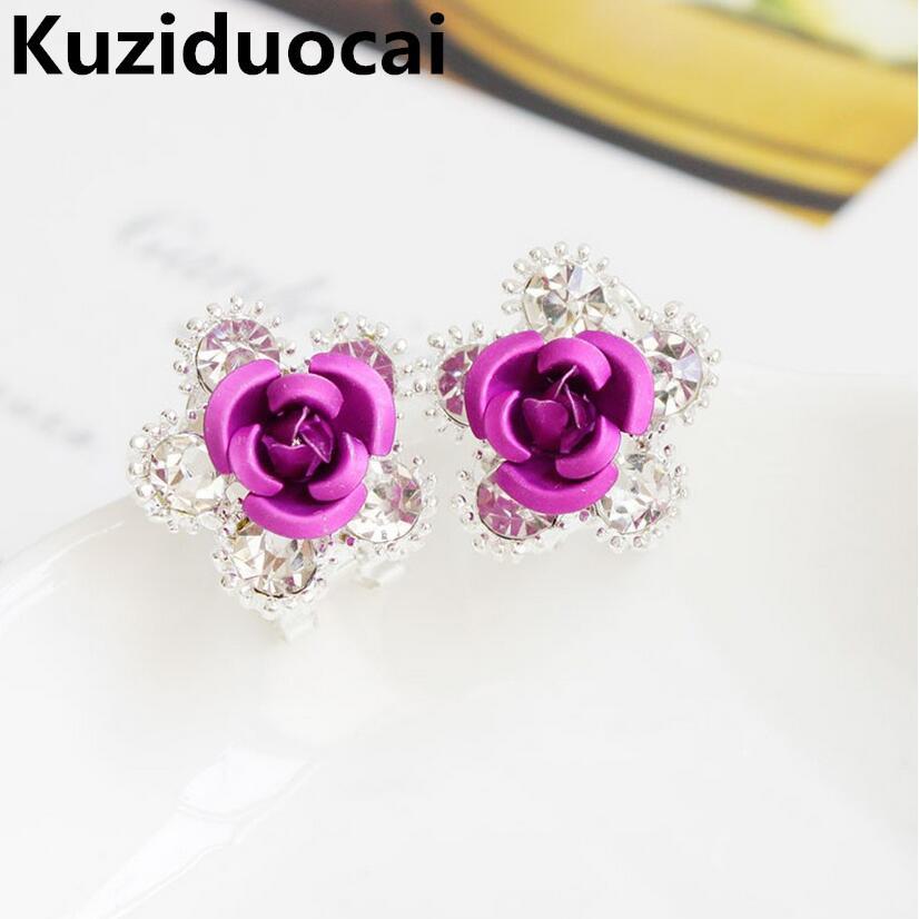 2016 New Hot Fashion Fine Jewelry Crystal Silvering Vivid Realistico Pentagono Bud Stamen Orecchini Stud donne e regalo delle signore E-655