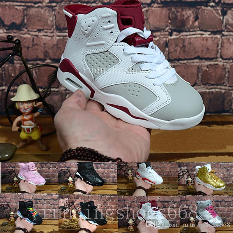pretty nice 78850 746cb Acheter Nike Air Jordan 6 Aj6 Retro Livraison Gratuite 2018 Enfants 6 VI  Basketball Chaussures Enfants 6s Sports Garçons Filles Jeunes Bébé En Plein  Air ...