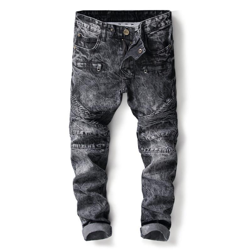 c58b096010b54 2019 Fashion Streetwear Brand Men Jeans Punk Style Hip Hop Long Pants Grey  Color Slim Fit Biker Jeans Men Cotton Classical From Easme