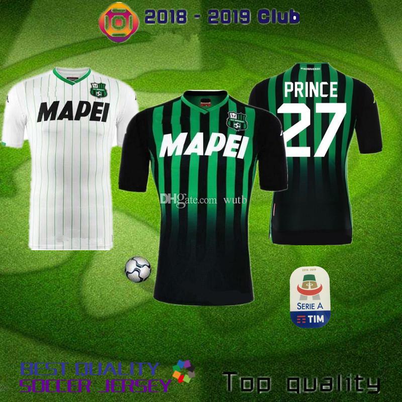 8677017969 Compre Sassuolo 2018 2019 Homem Camisas De Futebol Em Casa Verde Matri  Berardi Mimmo Sassuolo SRL Branco Longe Adultos Camisa De Futebol Camisa  Príncipe De ...