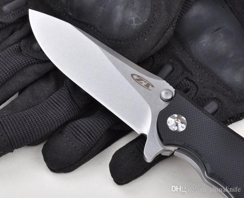 Cuchillo plegable clásico ZERO TOLERANCE 0562 Cuchillo plegable doble del cojín de bolitas Cuchillo de bolsillo G10 Mango ELMAX Cuchillo que acampa al aire libre