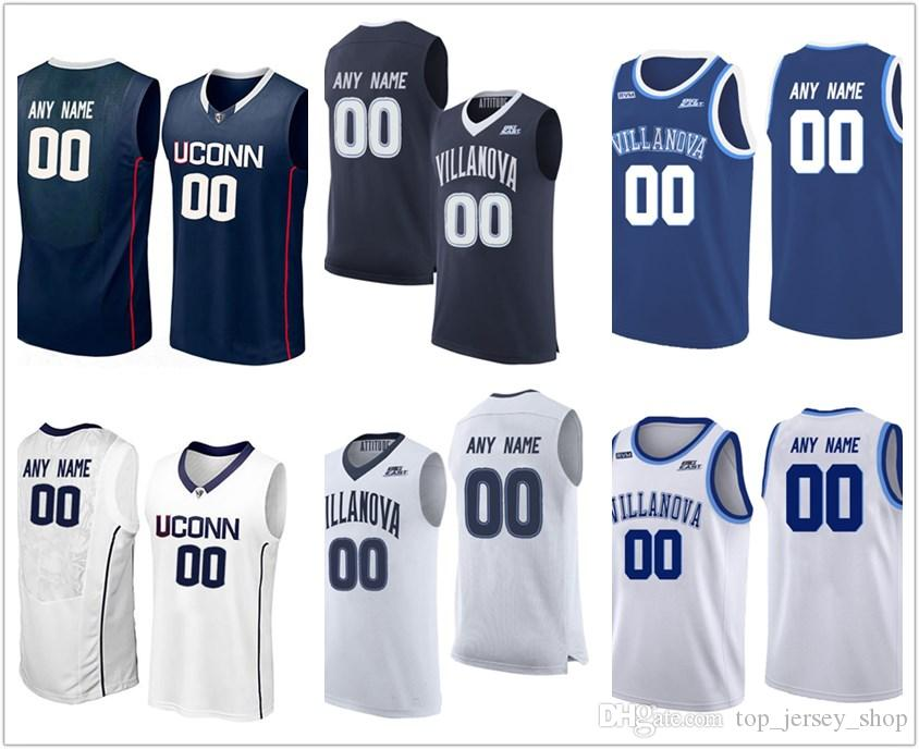 31cd570fdc00 2019 2018 NCAA Custom Make Villanova Wildcats Navy Blue White Stitched  Uconn Huskies Personalized College Basketball Jerseys Cheap From  Top jersey shop
