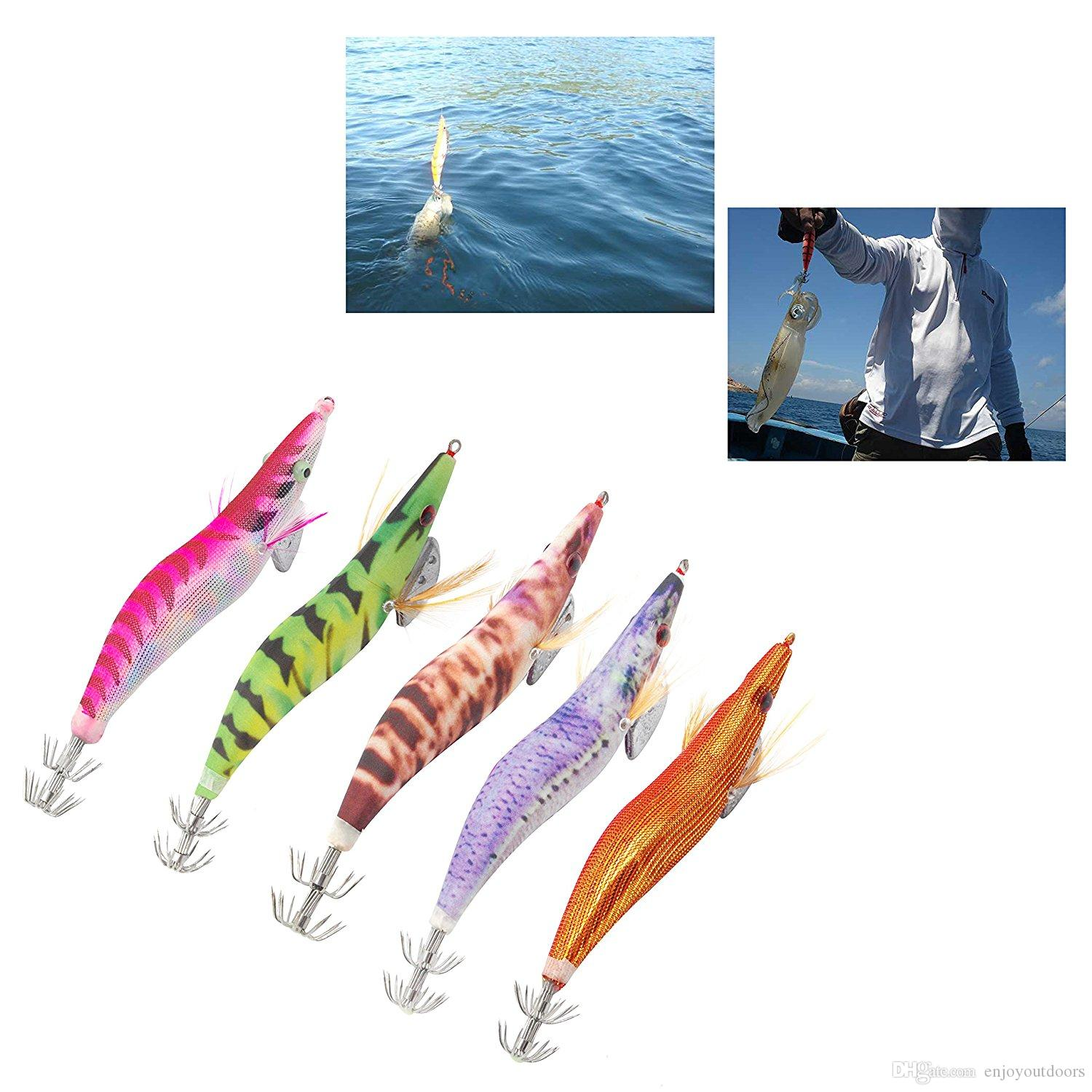 Wholesale-Hard Plastic Octopus Squid Jigs Lure Mixed Color Cuttlefish Artificial Bait Wood Shrimp With Squid Hooks