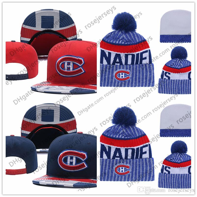 another chance e8958 5d830 ... release date montreal canadiens ice hockey knit beanies embroidery  adjustable hat embroidered snapback caps white red