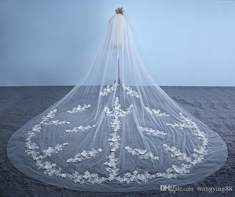 Real Photo New Arrival 3M Ivory White Lace Cathedral Wedding Veils Long Bridal Veils With Comb Wedding Accessories Voile Mariage