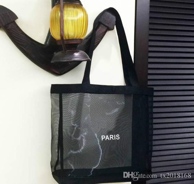 2018 جديد كلاسيكي أبيض شعار شبكة التسوق حقيبة نمط الفاخرة حقيبة سفر المرأة غسل حقيبة مستحضرات التجميل تخزين شبكة حالة