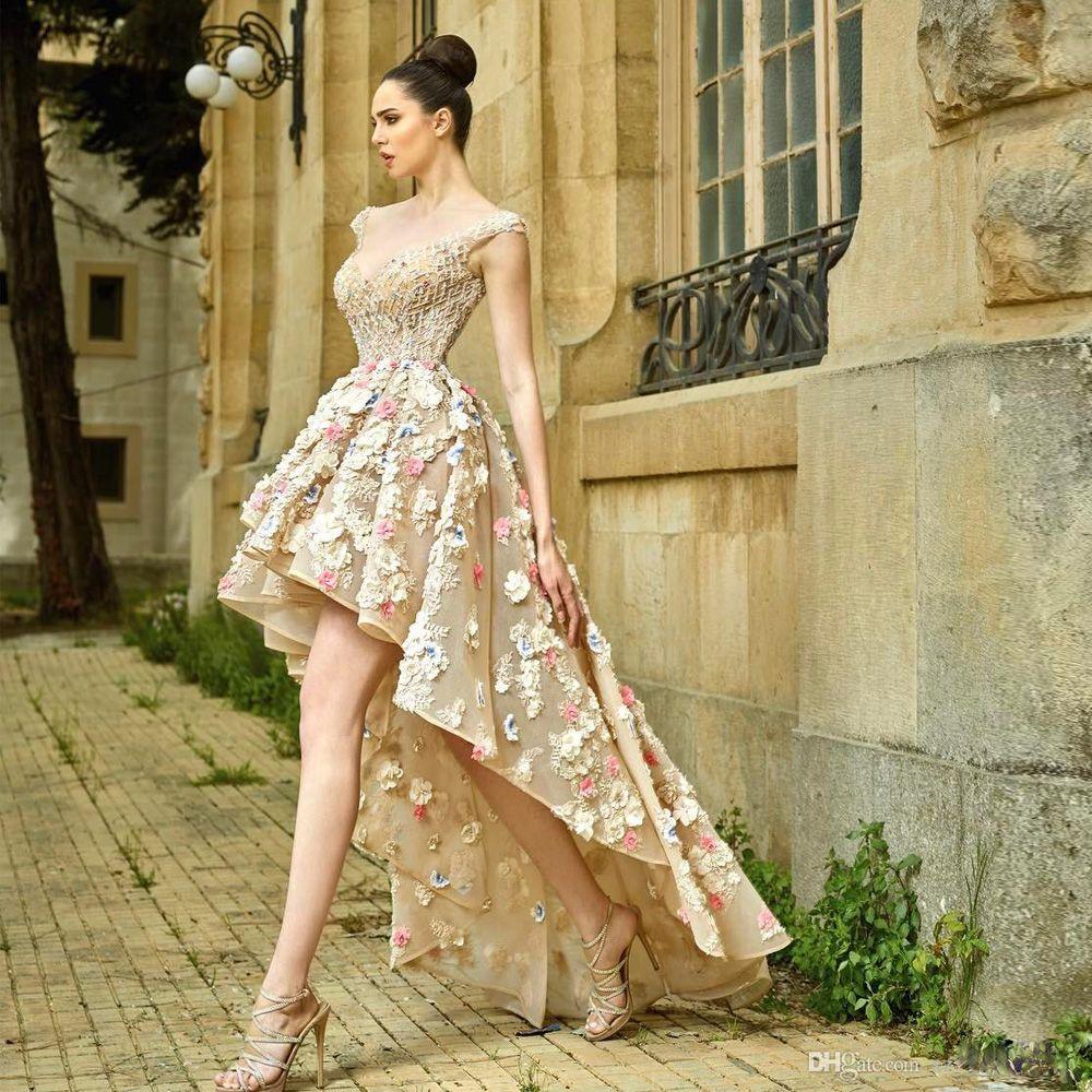 Gorgeous High Low Sheer Back Vestidos de fiesta Flor 3D con cuentas de cristal Fiesta de noche Vestido de ocasión especial para mujer de Illusion Organza