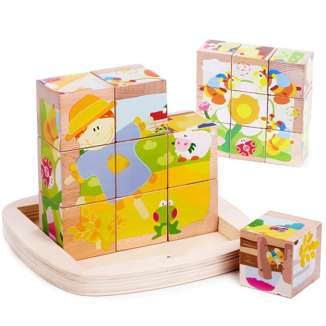 Building Block Bricks Toys Baby Toys For Children Wooden Cube Block