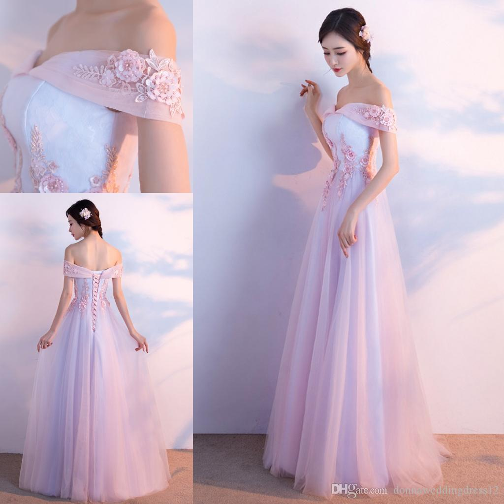 7dd4b2cb4 Compre 2019 Moda Fuera Del Hombro Apliques De Abalorios Vestido De Noche Largo  Rosa Azul De Tul Vestidos De Noche Vestido De Noiva Vestido De Fiesta De ...