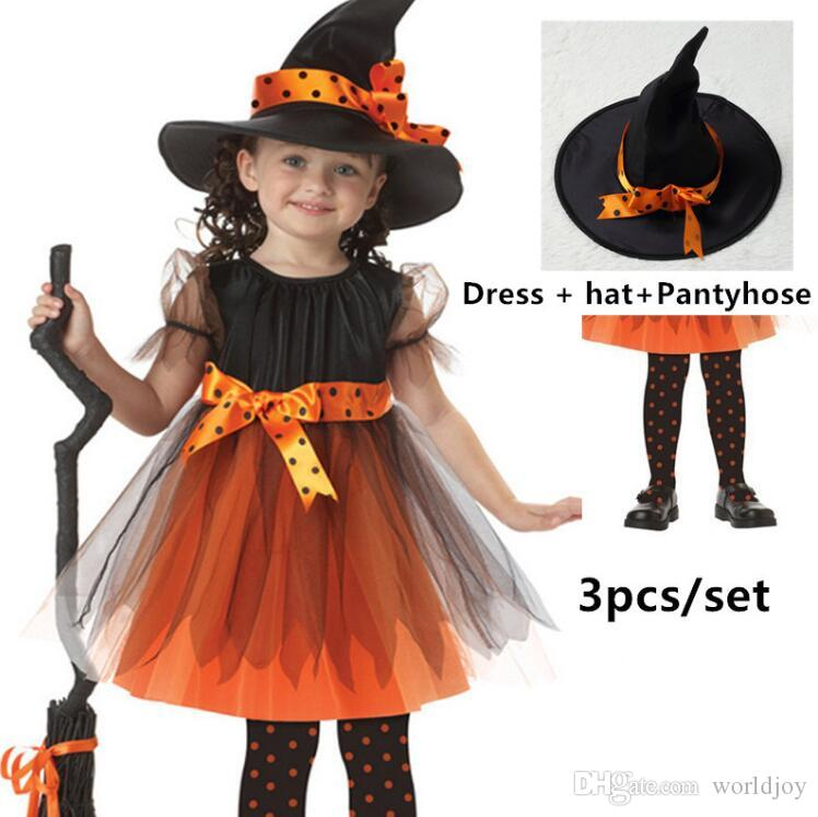 Halloween Costumes For Kids 2019.Children Witch Girls Dress Kids Halloween Costumes Girls Performance Party Cosplay Halloween Kids Costume Hat Dress Pantyhose 3pcs Set