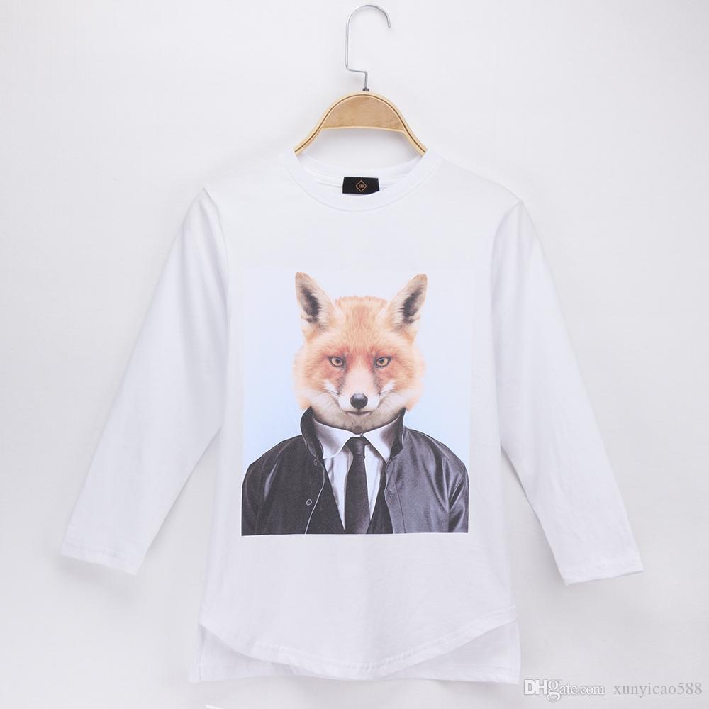 2018 Children T-shirt Animals Fox Print Full 100% Cotton White Loose Slits Child Boys Long Sleeve T Shirts Baby Clothing Girls Tops Teen Tee