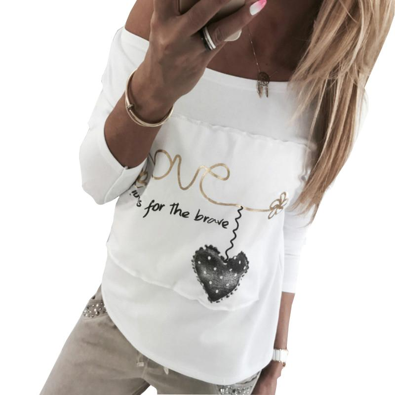 Casual White Shirts 2019 Spring Women Letters Love Printed Patchwork ... 77801896e81b