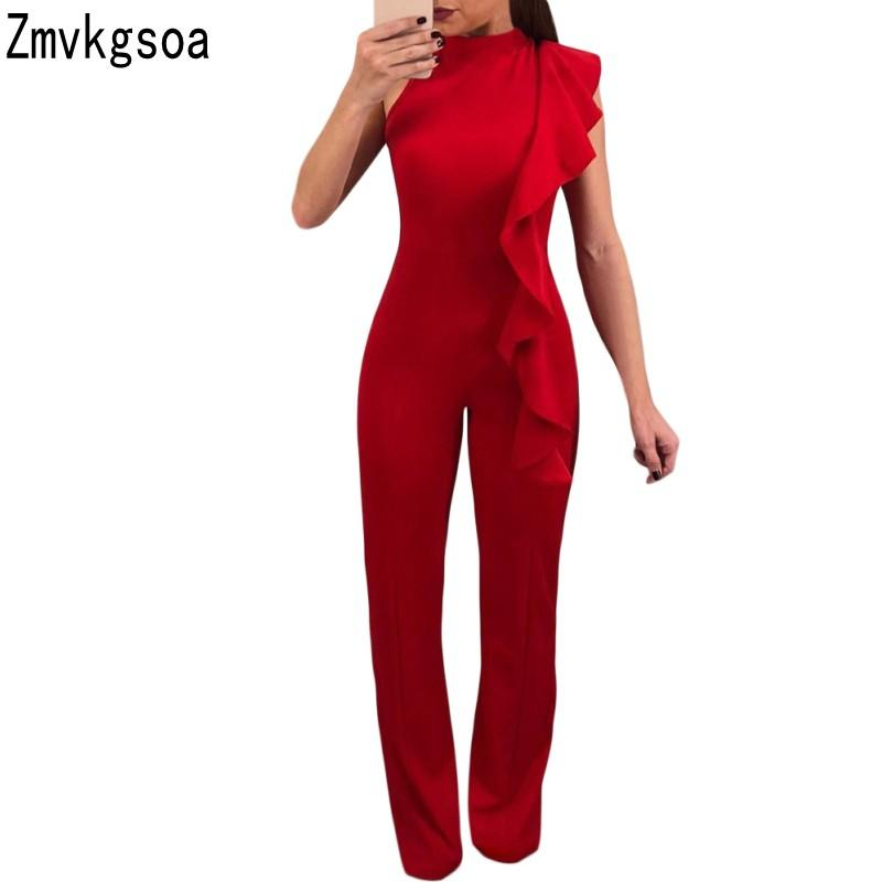 91ebe991c5 2019 Zmvkgsoa Rompers Womens Jumpsuit Black Red Asymmetric Ruffle Detail  Sleeveless Women Jumpsuits 2018 Macacao Feminino V643670 From Bevarly