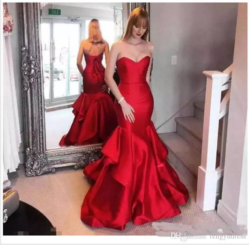 Vestidos De Noite Sereia Vermelho Vestidos De Noite Querida New Arrival Ocasião Especial Vestido Feminino Vestidos De Baile Elegante