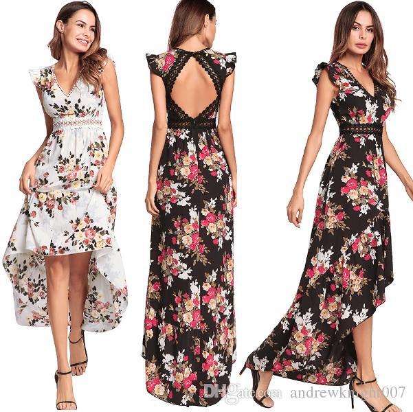 53385f1eb Compre Mujeres Elegante Estampado De Flores De Encaje Vestido Maxi Vestidos  Sexy Cuello En V Profundo Sin Espalda Verano Boho Asimétrico Vestido Largo  ...