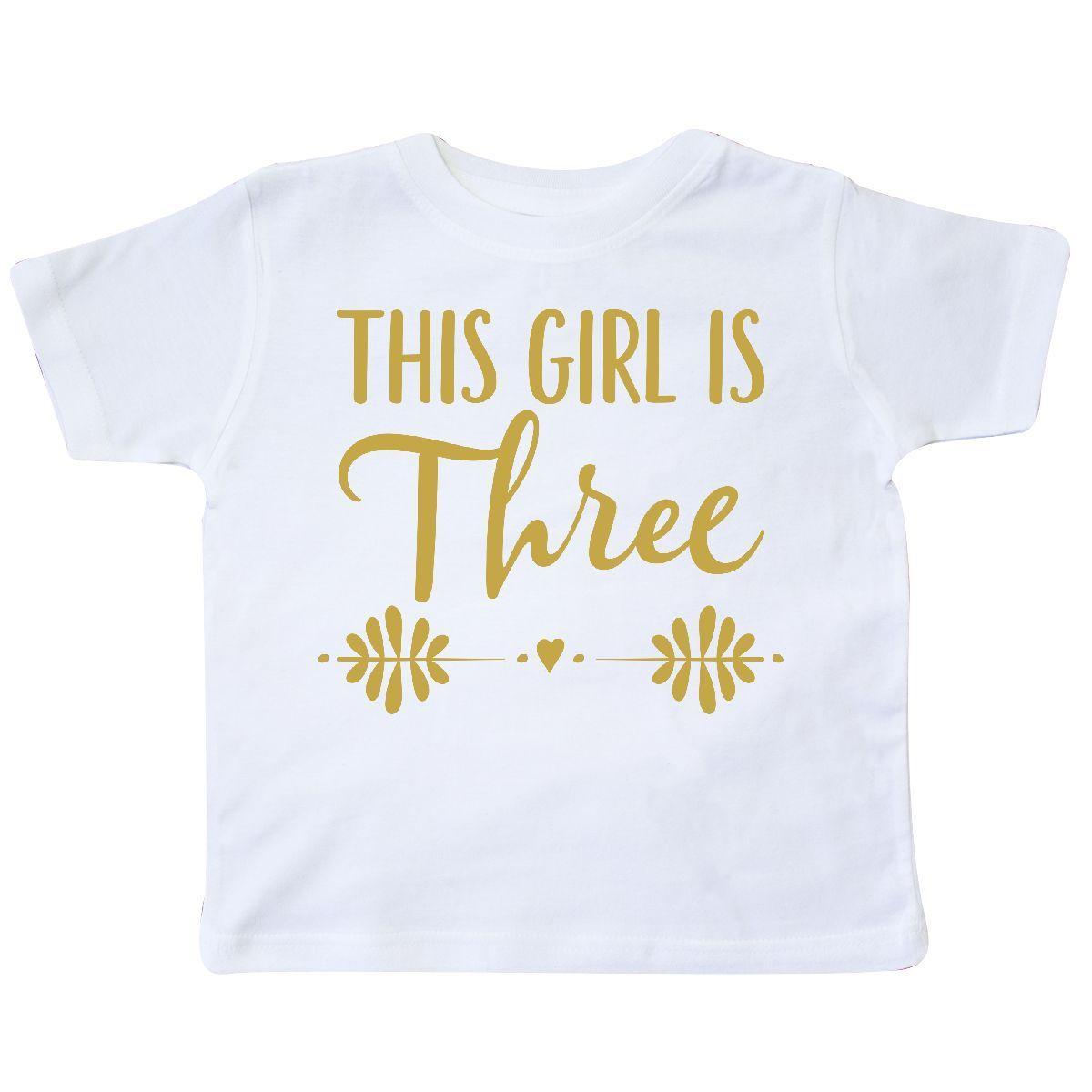 Inktastic 3rd Birthday Girls Gold 3 Year Old Party Photo Toddler T Shirt Three Funny Unisex Casual Tee Gift Design And Order Shirts Gag From