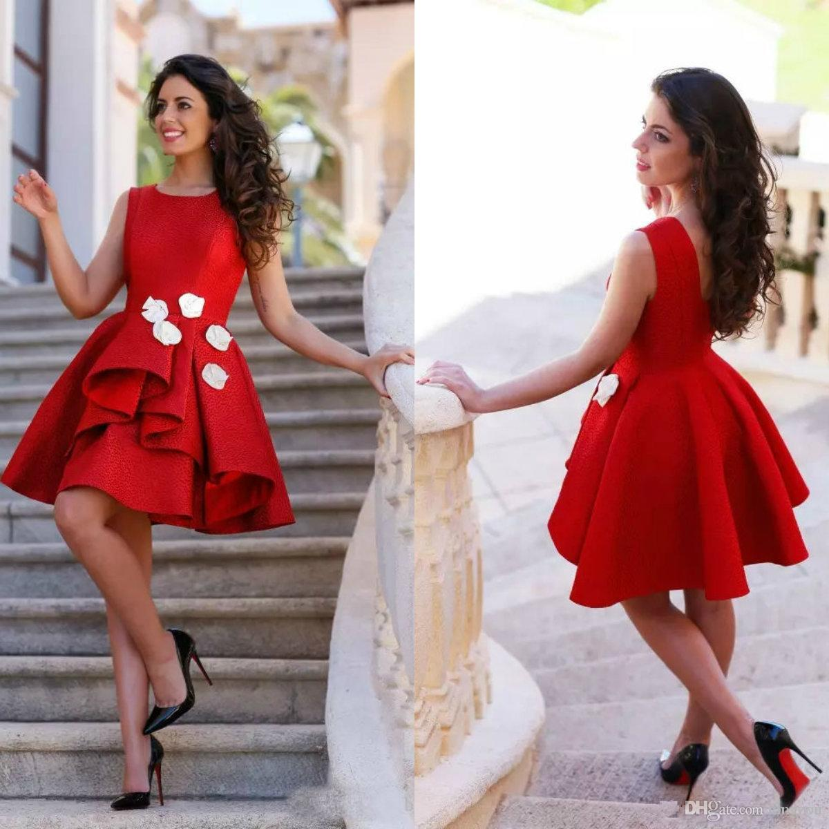 Short Red Homecoming Dresses With White Flowers Knee Length A Line