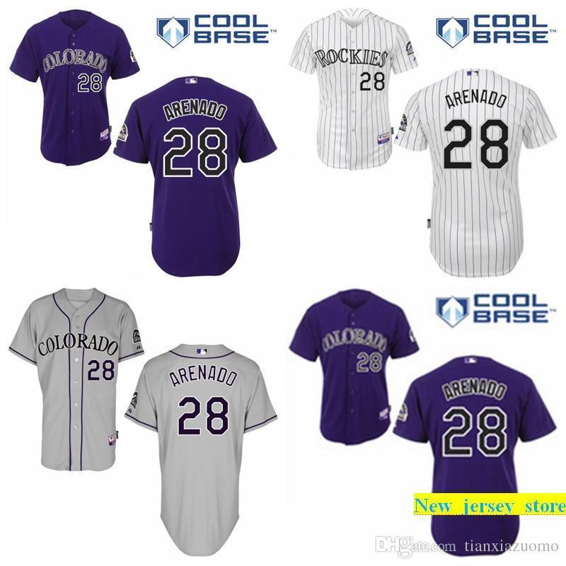 size 40 b625f ac21d Cheap Co Rockies Jersey 28 Nolan Arenado Jersey Authentic Baseball Jersey  Embroidery logos White Grey Purple stitched size S-3XL