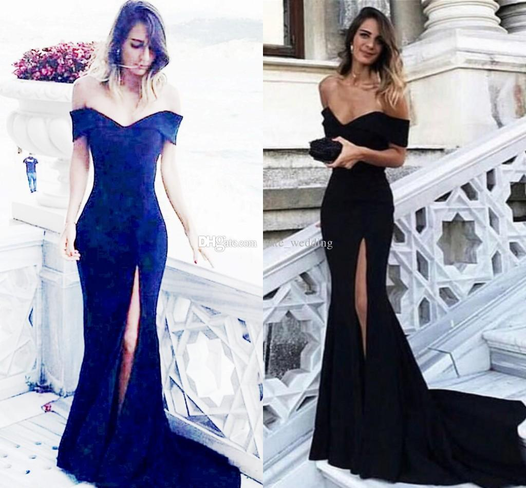 58e28f1d7e1 Navy Blue Mermaid Evening Dresses 2018 Off The Shoulder Satin Split Long  Black Prom Dresses Sexy Simple Formal Dress Evening Dress Black Evening Dress  Lace ...