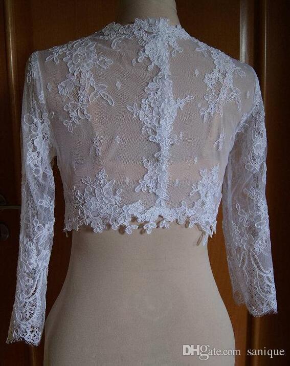 2018 Delicate Lace Brautjacken Jewel Neck Cap Sleeves Illusion Applikationen Tüll Weiß Ivor Bridal Shrugs Bolero Wrap