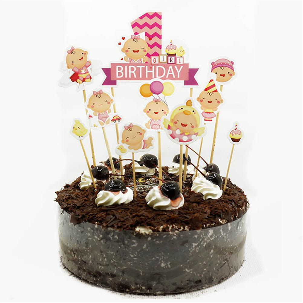 Grosshandel Happy Birthday Cake Topper Autos Stamm Baby Shower Cupcake Toppers Geburtstag Partydekorationen Kinder Jungen Madchen Dekoration Von Aldrichy