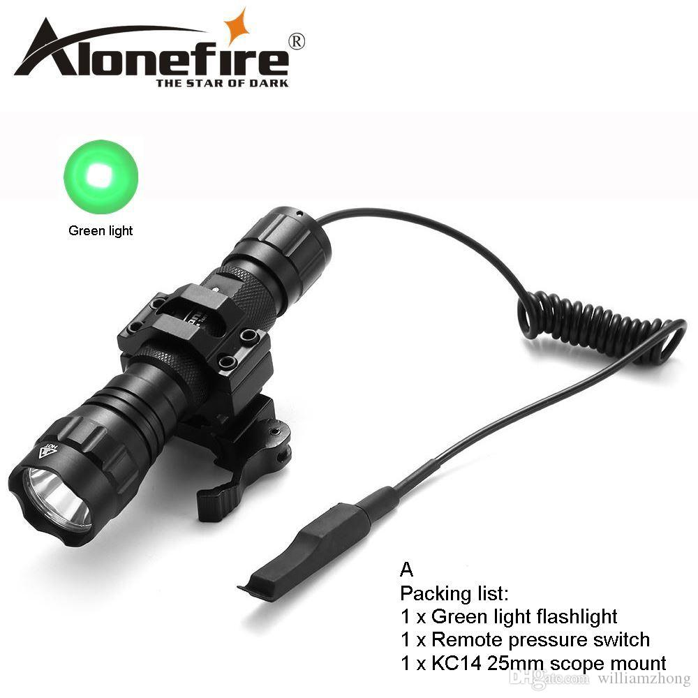AloneFire 501Bs CREE LED Tactical Flashlight green flash lights Hunting Torch Remote Switch mount for 18650