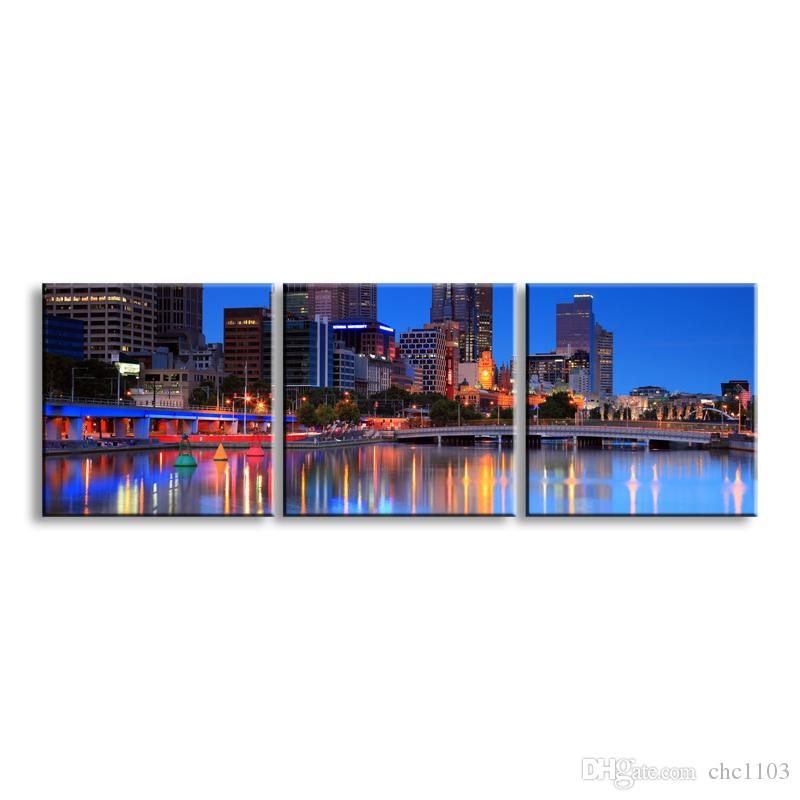 3 pieces high-definition print night view canvas prints painting poster and wall art living room picture CSYJ3-007