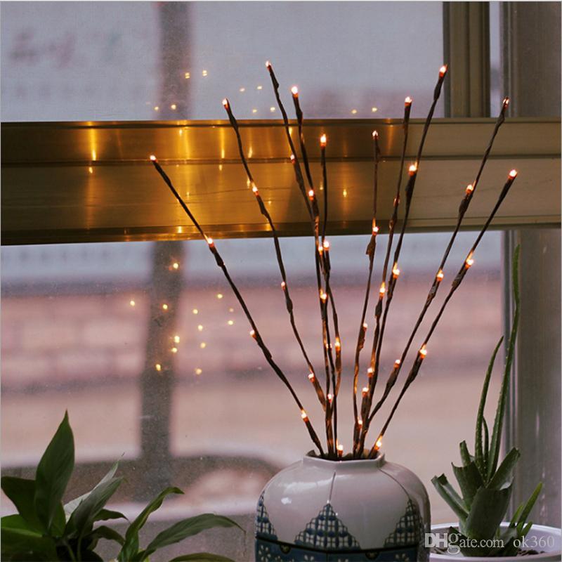 Blanc chaud 20LEDS Led Arbre Lumière Batterie Alimenté Fée De Noël Flexible Chaîne De Mariage Décoration Intérieur Table Lampe Luminarias Nuit Lumière