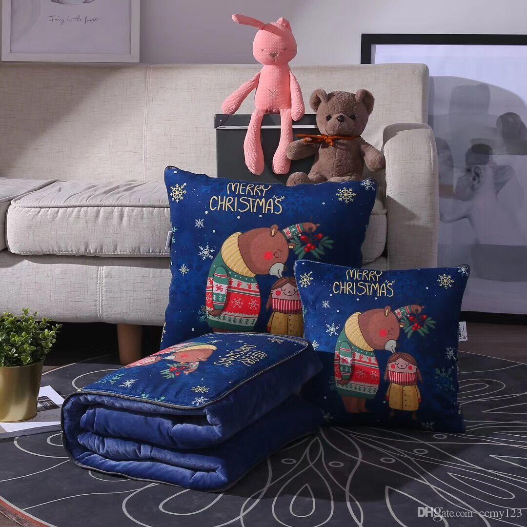 Enfants mignons bébés couvertures de coussin de couette 100 * 150cm oreillers courtepointes double usage polyvalent pliant des couvertures de voyage portable