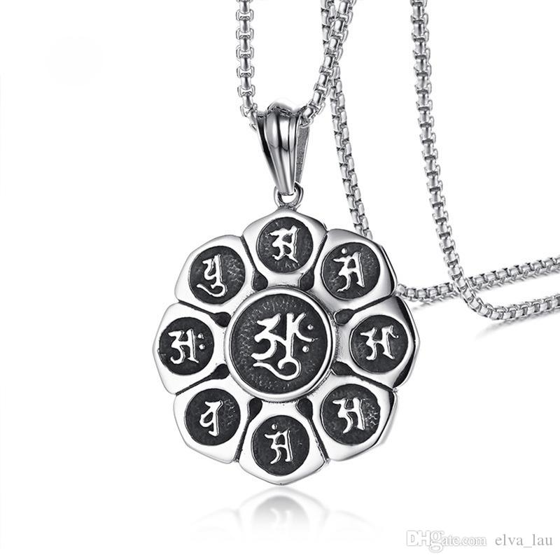 Wholesale religious taoism nine words mantra men necklace stainless wholesale religious taoism nine words mantra men necklace stainless steel lotus flower pendant necklace for men 24 chain male prayer jewelry silver heart mozeypictures Image collections
