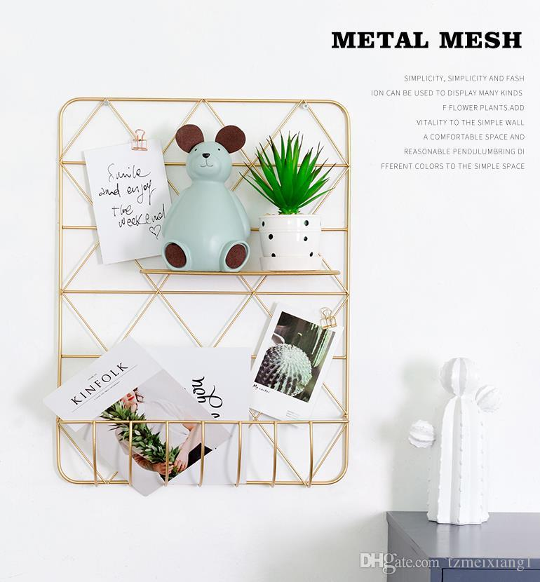 Creative Simple European Personality Wrought Iron Grid Rack Bedroom Room  Wall Wall Decoration Pendant Hanging Small Home Decor Modern Home Decor  Pictures ...