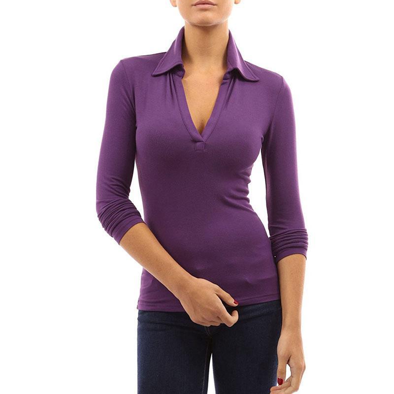 2018 Plus Size CELMIA Donna primavera risvolto scollo profondo V manica lunga Slim Fit Polo Autunno casual solido camicetta nera Top