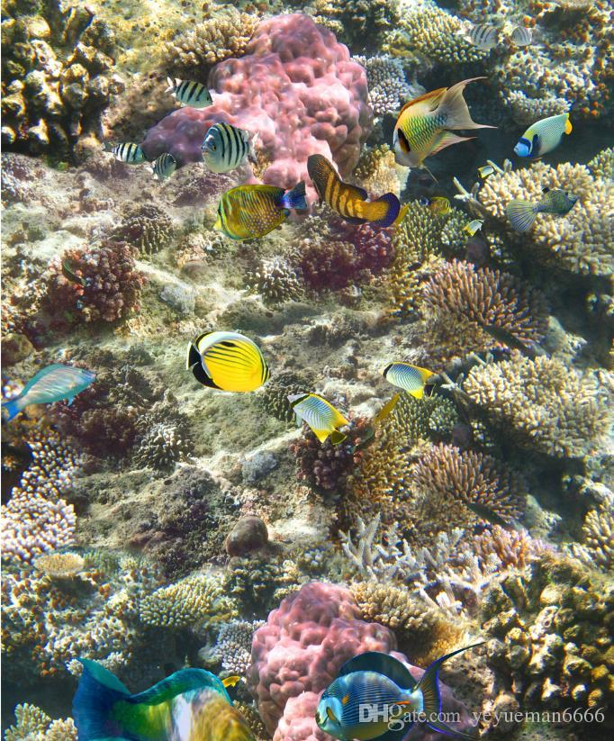 3D настил водонепроницаемый обои для ванной морского дна коралловые тропические рыбы 3D напольная живопись самоклеящиеся обои