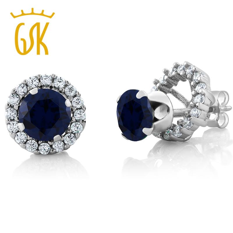 19bf71af0 2019 GemStoneKing 2.00 Ct Round Natural Blue Sapphire Earrings For Women 925  Sterling Silver Gemstone Stud Earrings With Jackets Y18110110 From Gou10,  ...