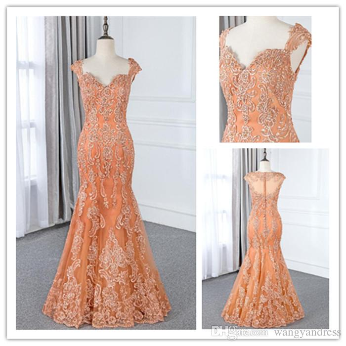6387f4900f87 2018 Luxury Orange Lace Floor Length Mermaid Prom Dresses Custom Sweetheart  Cap Sleeves Long Evening Gowns Sequins Organza Party Dress Cute Short Prom  ...