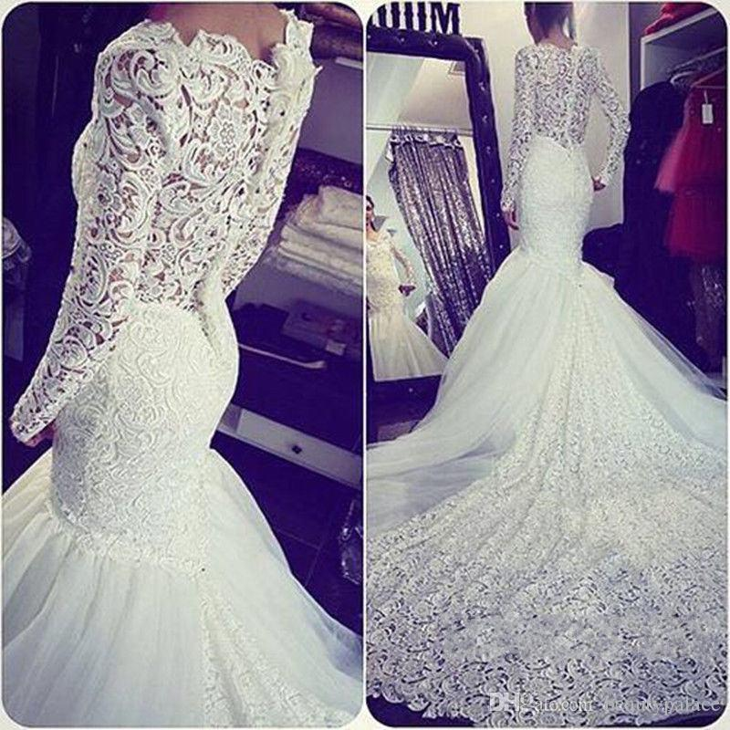 Unique Design Mermaid Long Sleeve Wedding Dresses Chapel Train Sheer Back New Arrival Bridal Lace Wedding Gowns