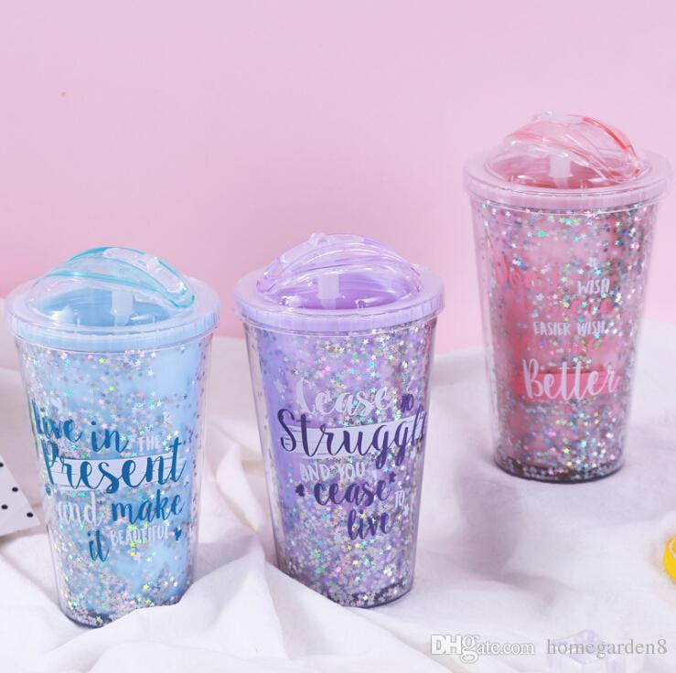 420ml Creative Colorful Double Layer Plastic Cup With Lid Summer Gold Powder Juice Cup Water Cup With Straw