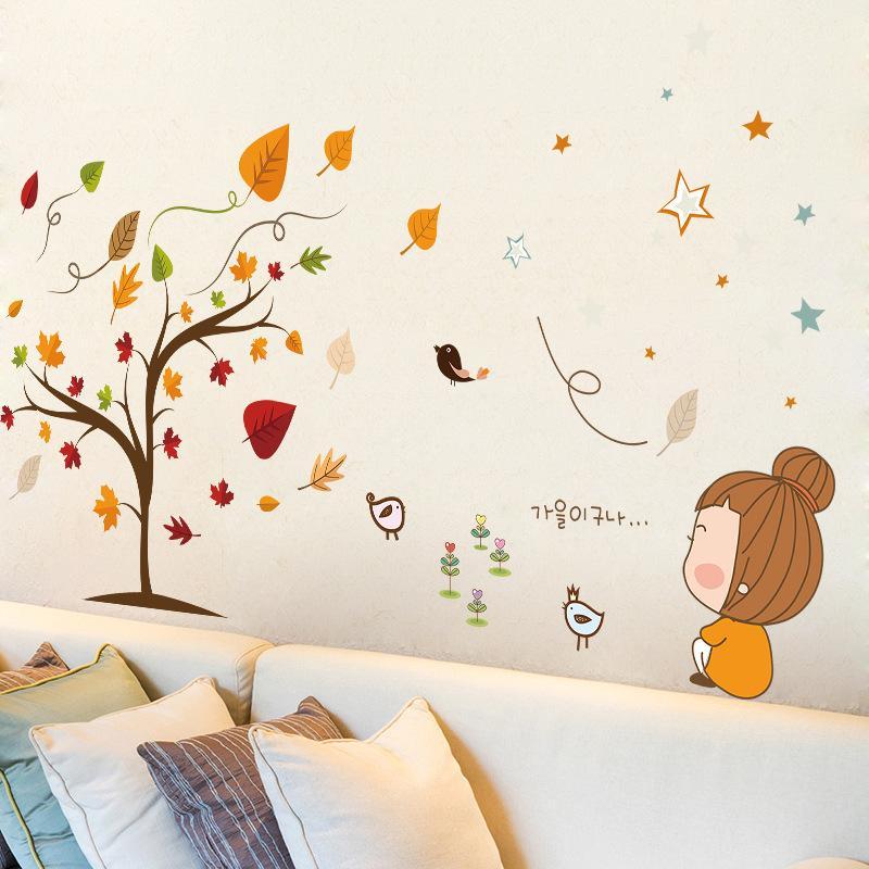 maple deciduous bird little girl cartoon wall stickers kids room