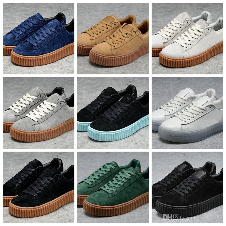 dd9af204b4b 2018 New Charity Fenty Suede Cleated Creeper Rihanna Grey Red Camo Black  Gold Tiple White Men Women Rihannas Sneakers Casual Running Shoes Womens  Running ...