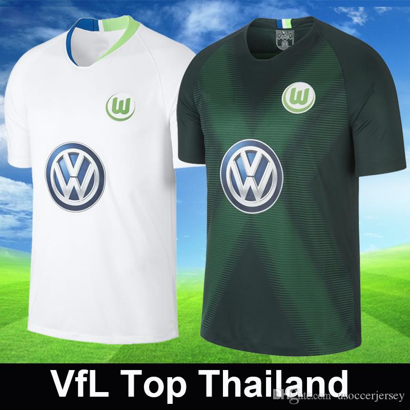 7d0081e8778ec Tailandia VfL Wolfsburg Camisetas De Fútbol Casa Verde Visitante Camiseta  De Fútbol Blanca Camisetas De Fútbol Camiseta De Fútbol GINCZEK MALLI  ROUSSILLION ...