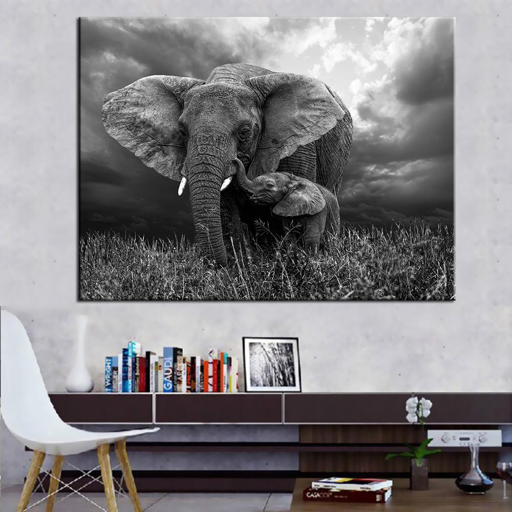 Gro handel lgem lde drucke wandbilder f r wohnzimmer wohnkultur elefanten leinwand kunst - Elefanten bilder auf leinwand ...