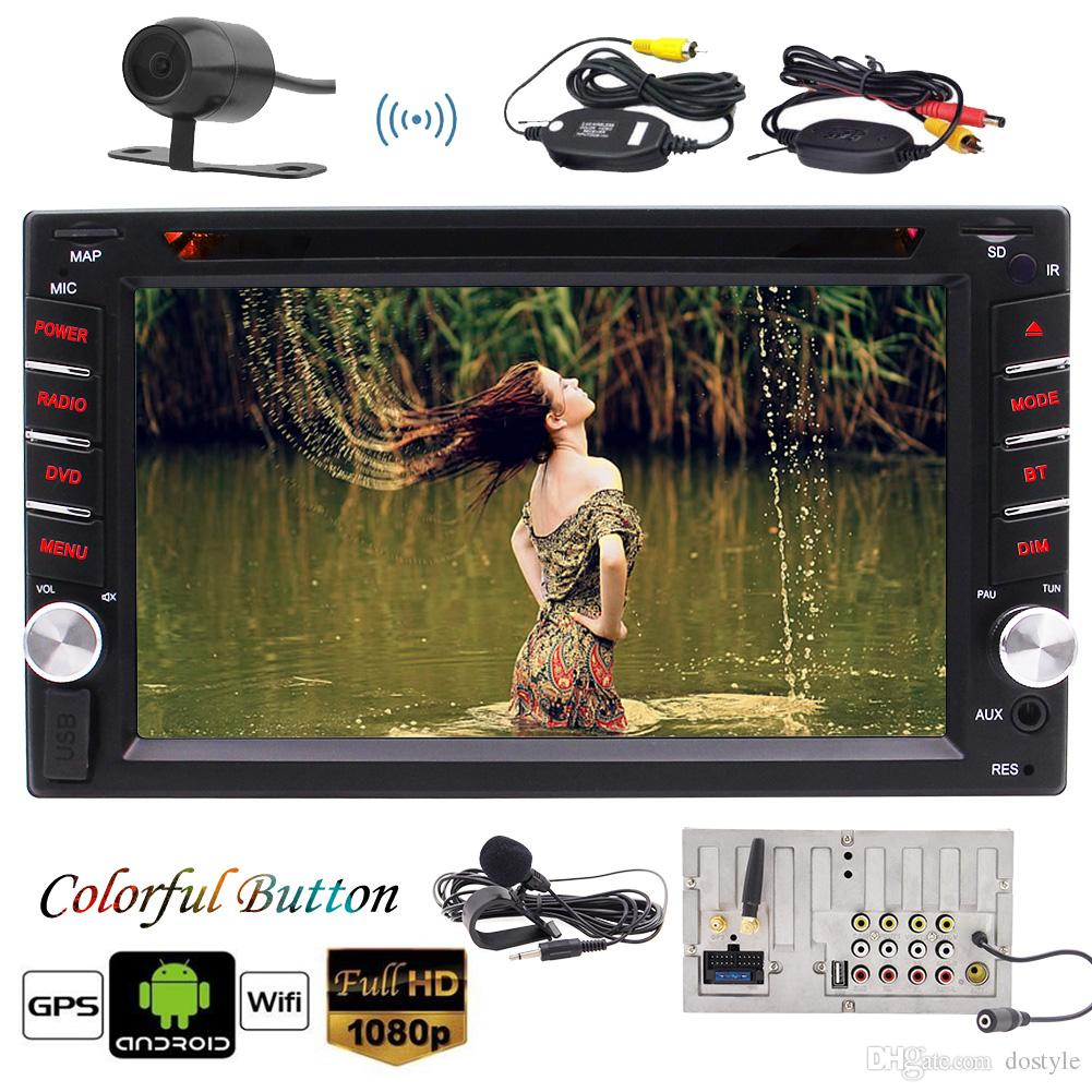 Receptor estéreo doble DIN para automóvil Android 6.0 2 Din AM FM Radio en Dash Headunit Reproductor DVD Bluetooth USB Pantalla LCD