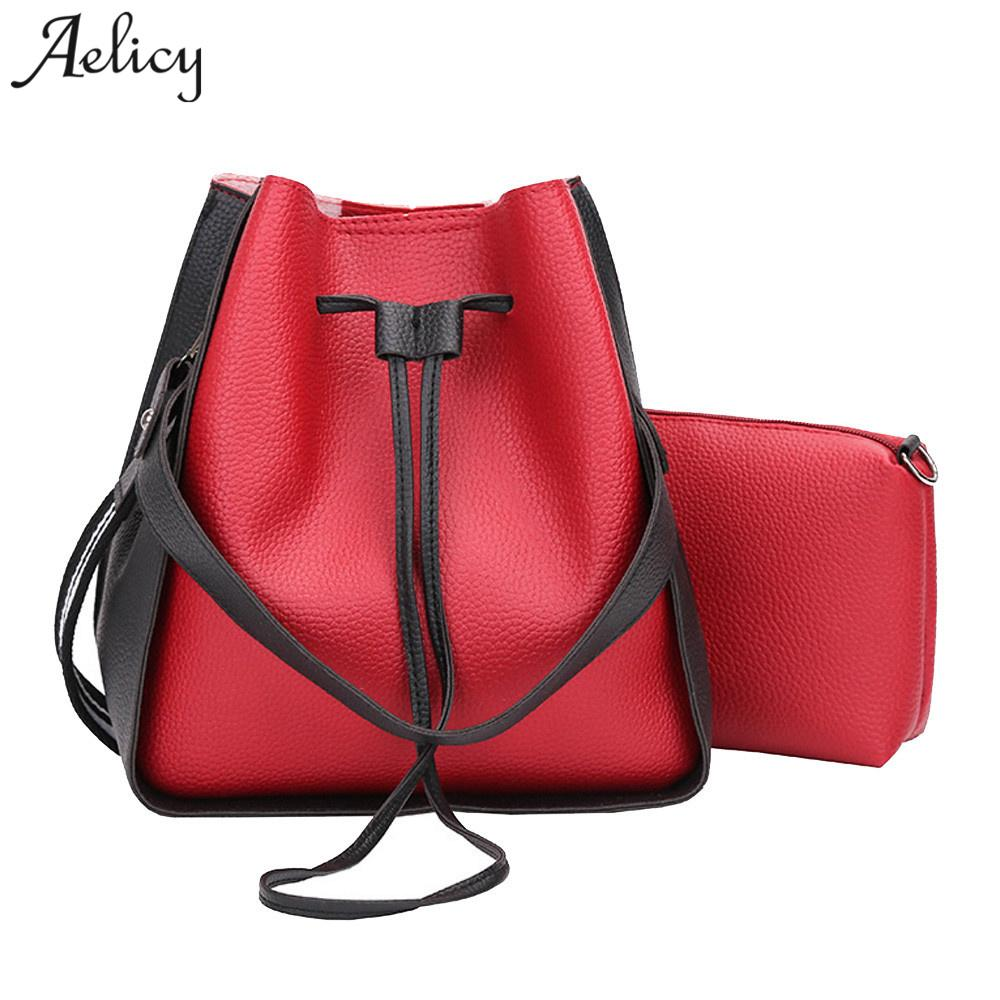 42845aac0 Aelicy High Quality New Women's Bucket Composite Bags PU 2 Sets Ladies Women's  Purses And Hand Bags All-Match Solid Handbag