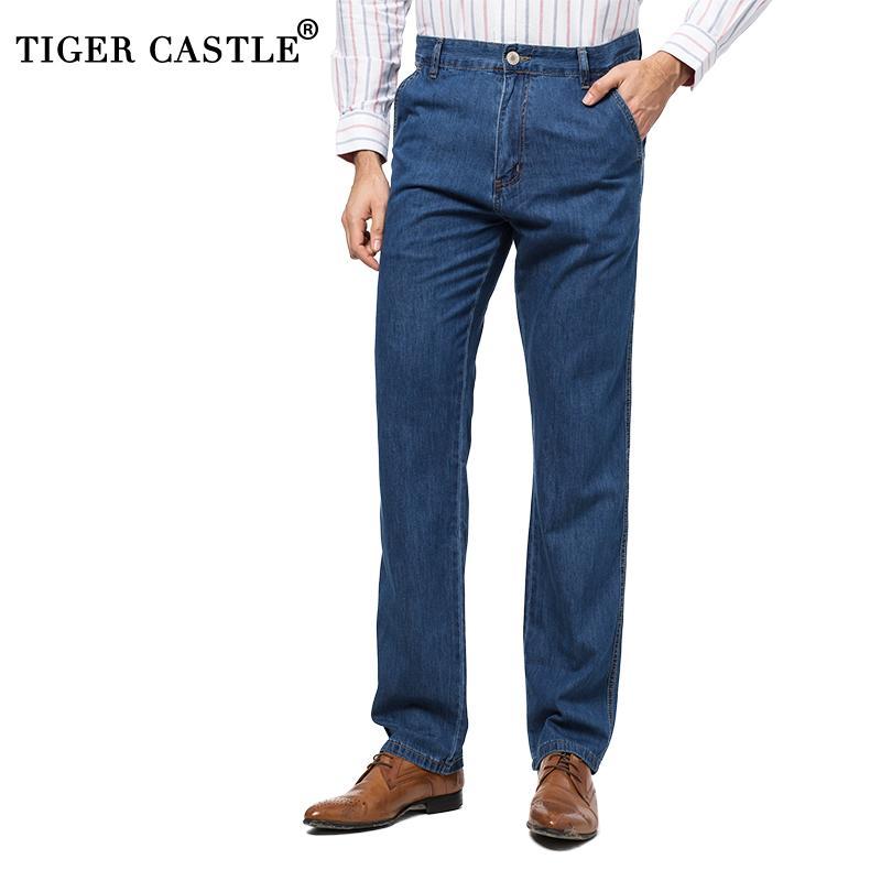94d352c69ae9e Compre Cintura Alta Para Hombre 100% Algodón Verano Pantalones Vaqueros  Finos Diseñador De Alta Calidad Pantalones De Mezclilla Masculinos Baggy  Men Light ...