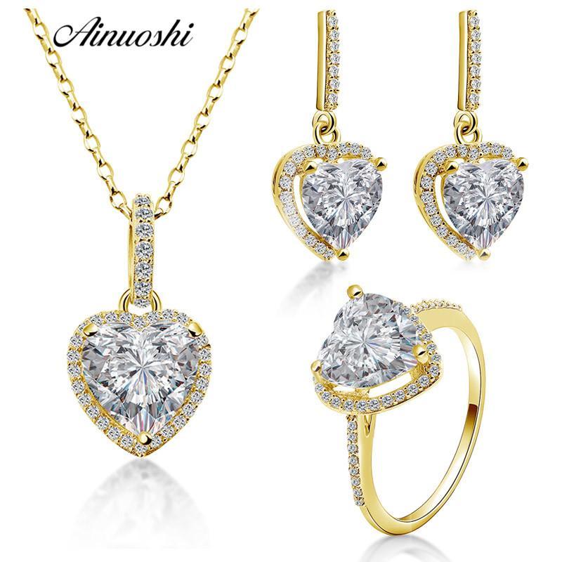 Купить Оптом <b>AINUOSHI 10K Solid Yellow</b> Gold Heart Jewelry Set ...