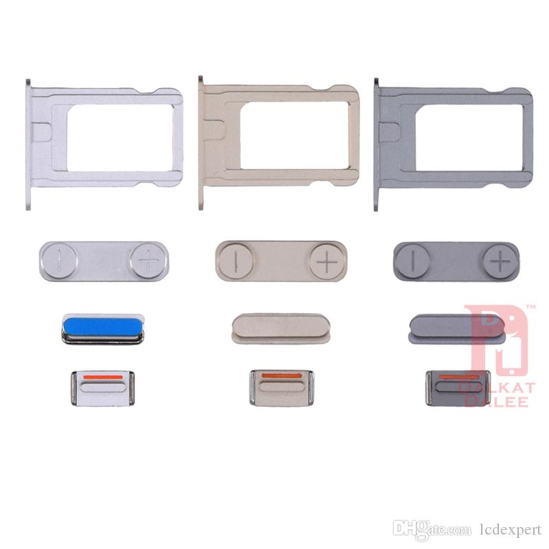 For iPhone 5S Power Button Volume Buttons Sim Card Holder Tray Slot Mute Button Side Button Sets Brand New Replacement Parts