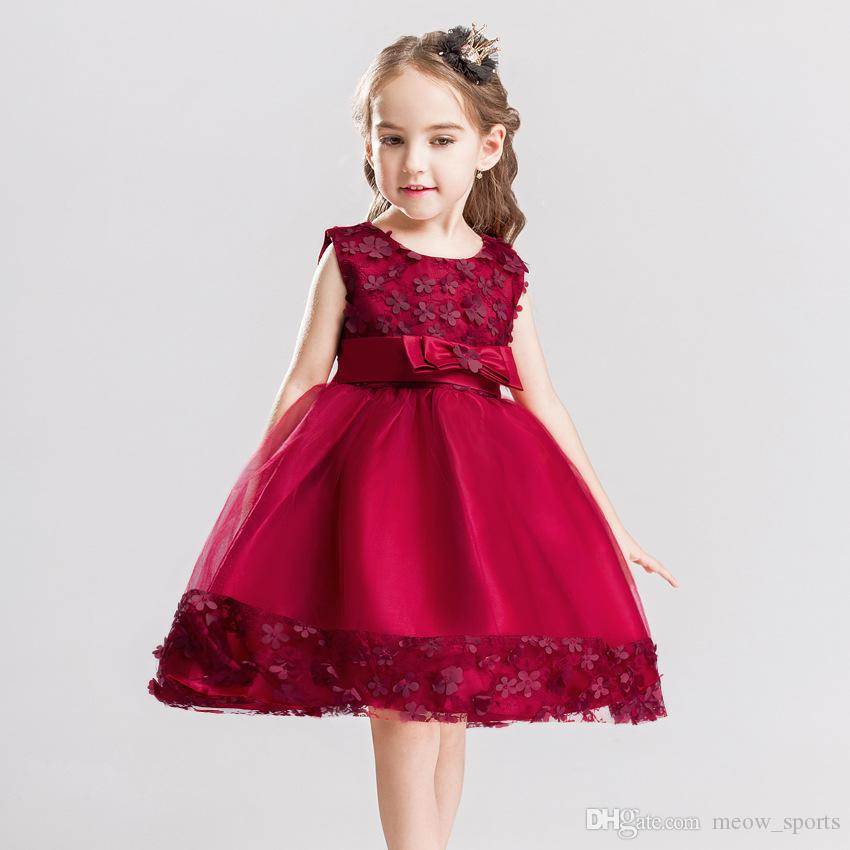ea10d965747db 2019 2018 Flower Girl Dresses O Neck Appliques Sleeveless Ball Gown Super  Cute Baby Girls Princess Summer Floral Dress Kids Clothing From  Meow_sports, ...